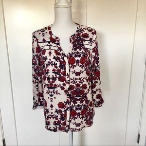 Lucky Brand | White, Red, & Blue Boho Blouse Small